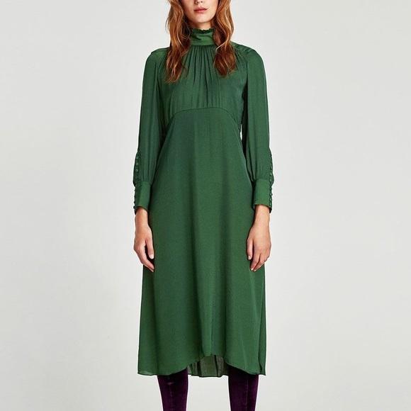 83e82384 Zara Dresses | Flowing Midi Dress With Long Sleeves | Poshmark